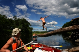 Garrite Belanger, 16, takes a leap off a tree over the Connecticut River on the Northern Forest Canoe Trail in New Hampshire. The 740 mile trail can take months to complete. River Jumper