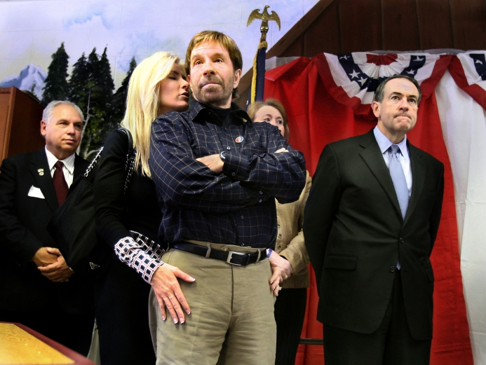 Chuck Norris campaigns with Mike Huckabee in New Hampshire